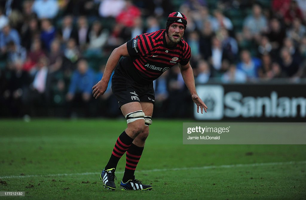 Alistair Hargreaves of Saracens in action during the pre season friendly match between Saracens and Cornish Pirates at Honourable Artillery Company on August 22, 2013 in London, England.