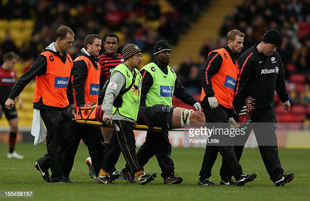 Alistair Hargreaves of Saracens leaves the pitch concussed a second time during the Aviva Premiership match between Saracens and London Wasps at...