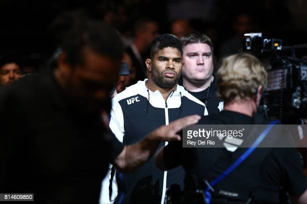 Alistair Overeem enters the Octagon before facing Fabricio Werdum during the UFC 213 event at TMobile Arena on July 9 2017 in Las Vegas Nevada