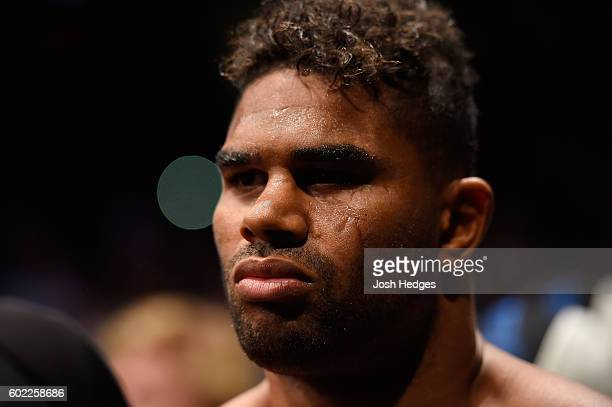 Alistair Overeem of The Netherlands prepares to enter the Octagon prior to facing Stipe Miocic in their UFC heavyweight championship bout during the...