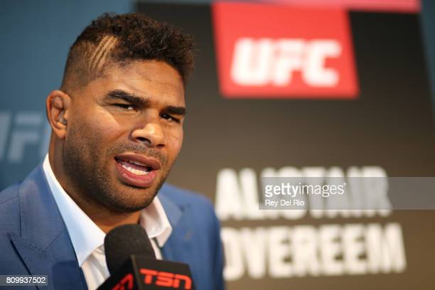 Alistair Overeem speaks to the media during the UFC 213 Ultimate Media Day event at TMobile Arena on July 6 2017 in Las Vegas Nevada