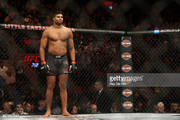 Alistair Overeem stands in the Octagon prior to his bout against Francis Ngannou during the UFC 218 event at Little Caesars Arena on December 2 2017...