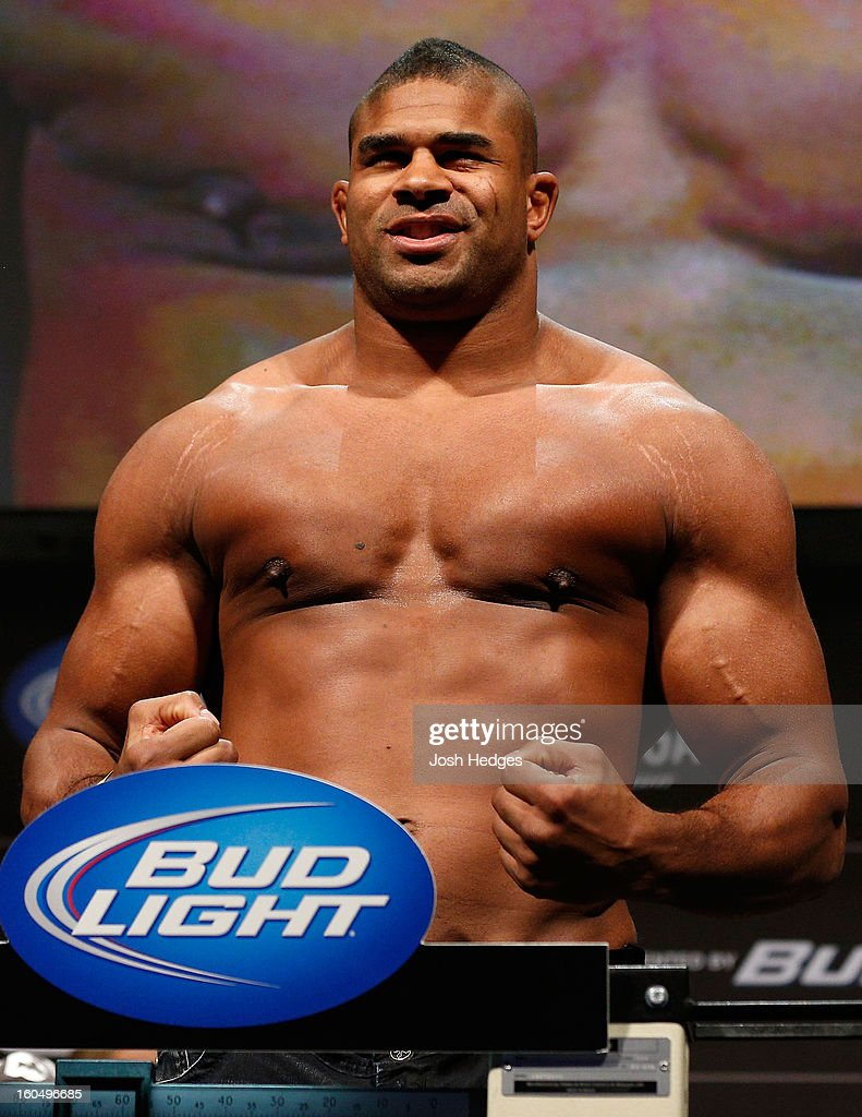 <a gi-track='captionPersonalityLinkClicked' href=/galleries/search?phrase=Alistair+Overeem&family=editorial&specificpeople=7480034 ng-click='$event.stopPropagation()'>Alistair Overeem</a> weighs in during the UFC 156 weigh-in on February 1, 2013 at Mandalay Bay Events Center in Las Vegas, Nevada.