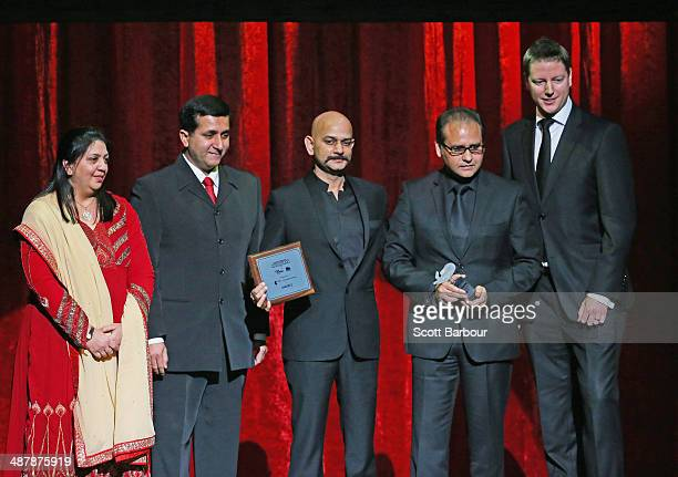 Alistair Park presents Vijay Krishna Acharya with the People's Choice Award for Dhoom 3 at the Indian Film Festival of Melbourne Awards at Princess...