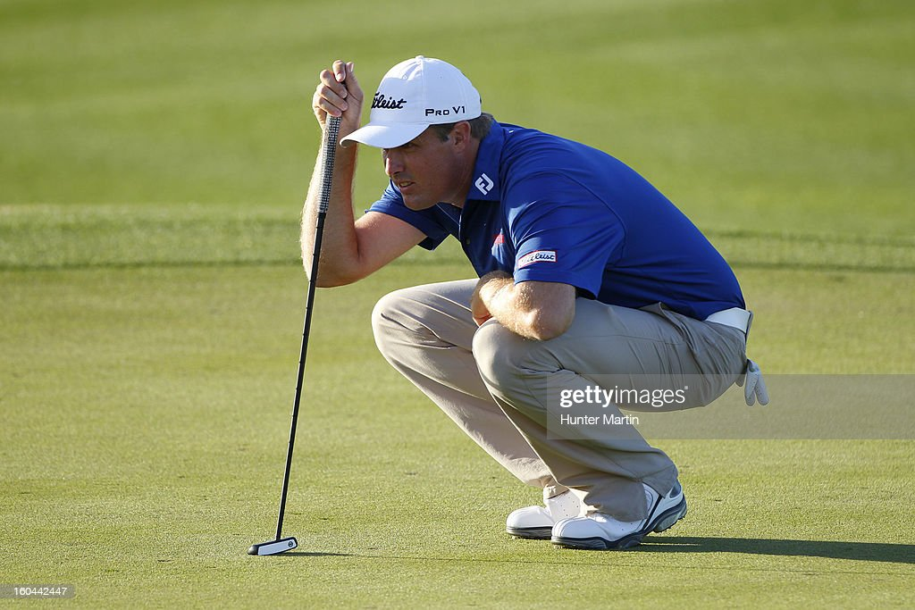 Alistair Presnell of Australia lines up his putt on the ninth hole during the first round of the Waste Management Phoenix Open at TPC Scottsdale on January 31, 2013 in Scottsdale, Arizona.