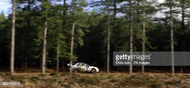 Alistair Thorburn and Paul McGuire from Duns in Scotland drive their Subaru Impreza through special stage 6 during the Rallye Sunseeker near Ringwood...