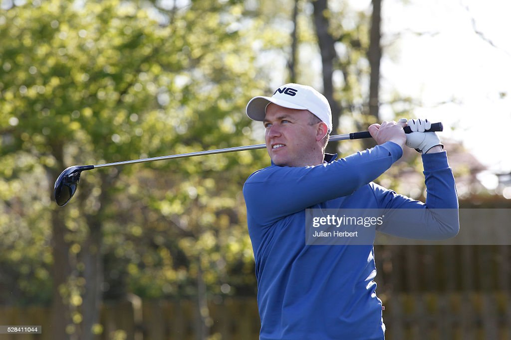 Alistair Welsher of Tiverton Golf Club plays his first shot on the 1st tee during the PGA Professional Championship - West Qualifier at Burnham And Berrow Golf Club Club on May 5, 2016, in Burnham-On-Sea, England.