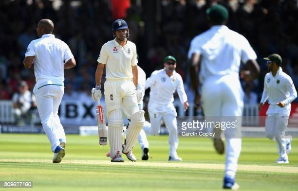 Alister Cook of England looks dejected after he is dismissed by Vernon Philander of South Africa during day one of the 1st Investec Test match...