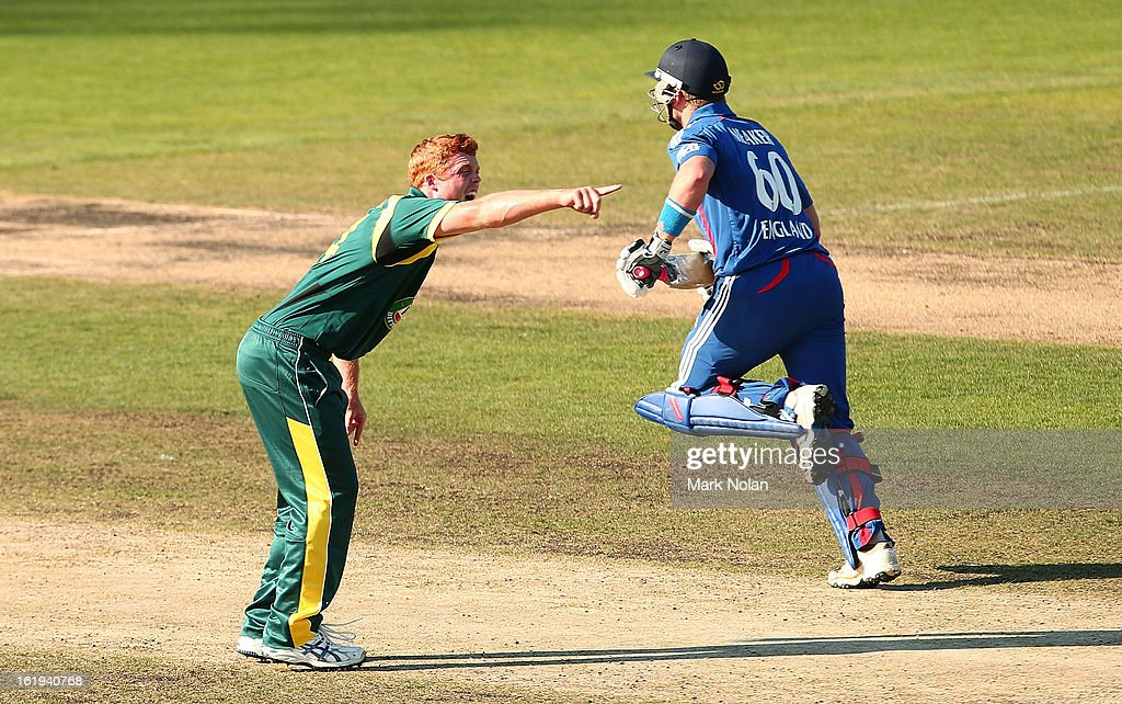 Alister McDermott of Australia A appeals for the wicket of <a gi-track='captionPersonalityLinkClicked' href=/galleries/search?phrase=Chris+Wright+-+Cricket+Player&family=editorial&specificpeople=14555411 ng-click='$event.stopPropagation()'>Chris Wright</a> of the Lions during the international tour match between Australia 'A' and England at Blundstone Arena on February 18, 2013 in Hobart, Australia.