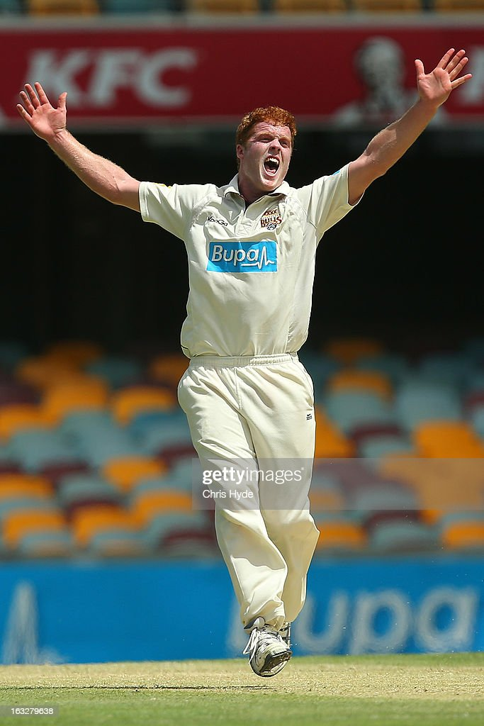 Alister McDermott of the Bulls unsuccessfully appeals for the wicket of Ricky Ponting of the Tigers during day one of the Sheffield Shield match between the Queensland Bulls and the Tasmanian Tigers at The Gabba on March 7, 2013 in Brisbane, Australia.