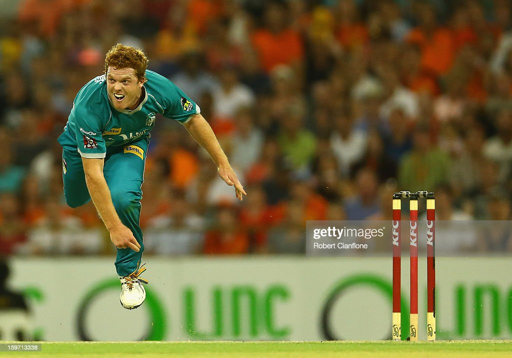 Alister McDermott of the Heat bowls during the Big Bash League final match between the Perth Scorchers and the Brisbane Heat at the WACA on January 19, 2013 in Perth, Australia.
