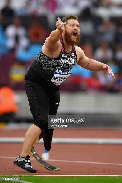 Alister McQueen of Canada competes in the Men's Javelin Throw F44 Final during Day Five of the IPC World ParaAthletics Championships 2017 London at...