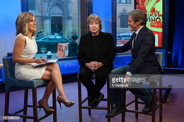 Alisyn Camerota and Geraldo Rivera interview Shirley MacLaine during her visit to FOX News Channel's America's News Headquarters at FOX Studios on...