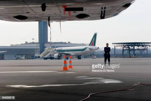 Alitalia aircraft parks at Milan Malpensa Airport on February 04 2009 in Milan Italy Air FranceKLMAir FranceKLM has bought 25% equity interest in the...