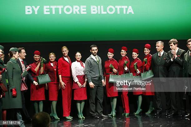 Alitalia Day at the Triennale Fashion show of presentation of the new uniforms designed by the fashion designer Ettore Bilotta and worn by the...