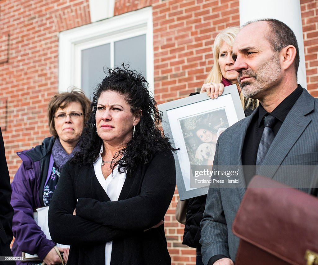 Alivia Welch's mother Jocelyne Welch, left, and Dan Welch, right, speak after the double life sentencing of James Pak at the Superior Court in Alfred, ME on Thursday, Feb 11 2016.
