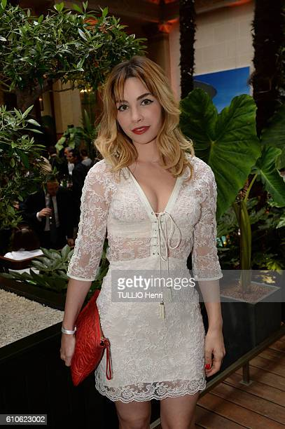Alix Benezech poses for Paris Match in the brazilian party at the Hotel Prince de Galles on june 29 2016 in Paris France