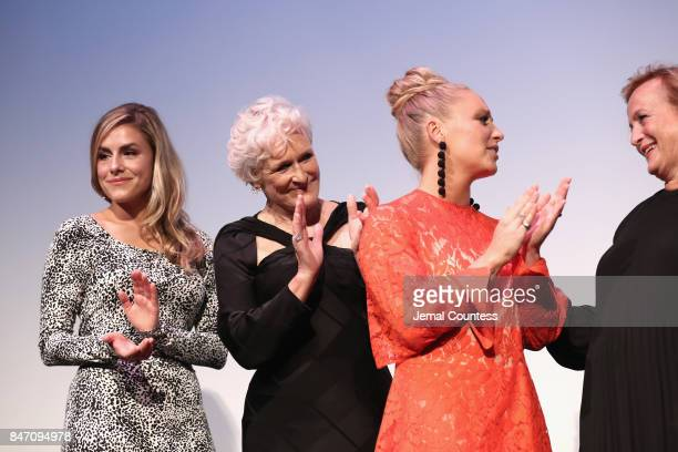 Alix Wilton Regan Glenn Close and Annie Starke attend the 'The Wife' premiere during the 2017 Toronto International Film Festival at Roy Thomson Hall...