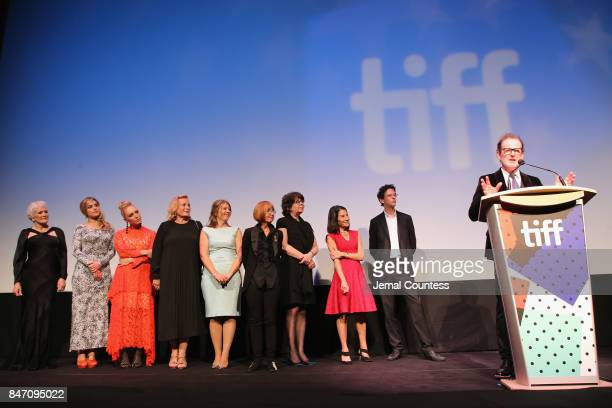 Alix Wilton Regan Glenn Close director Bjorn Runge and Annie Starke attend the 'The Wife' premiere during the 2017 Toronto International Film...