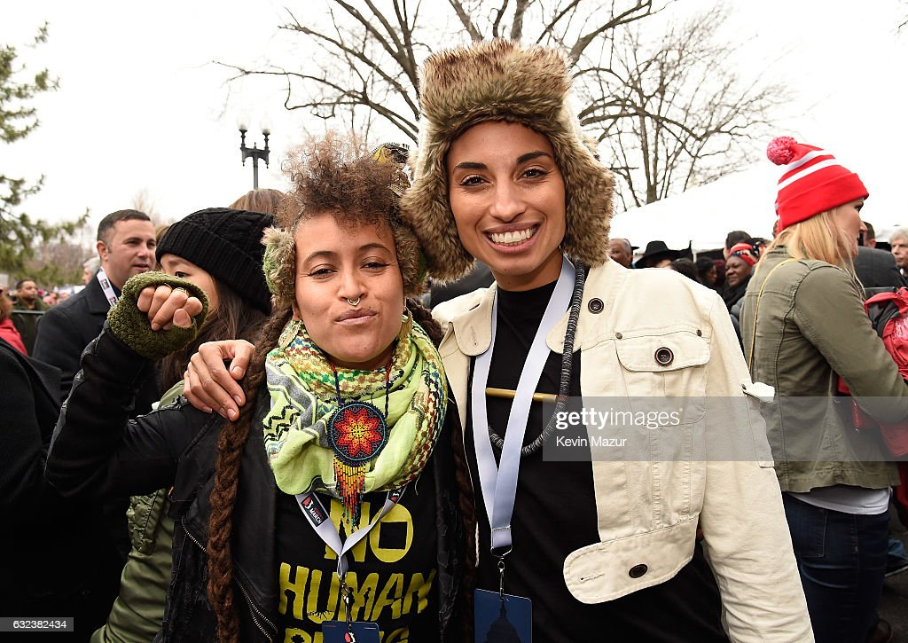 Alixa Garcia and Naima Penniman of Climbing PoeTree attend the Women's March on Washington on January 21, 2017 in Washington, DC.