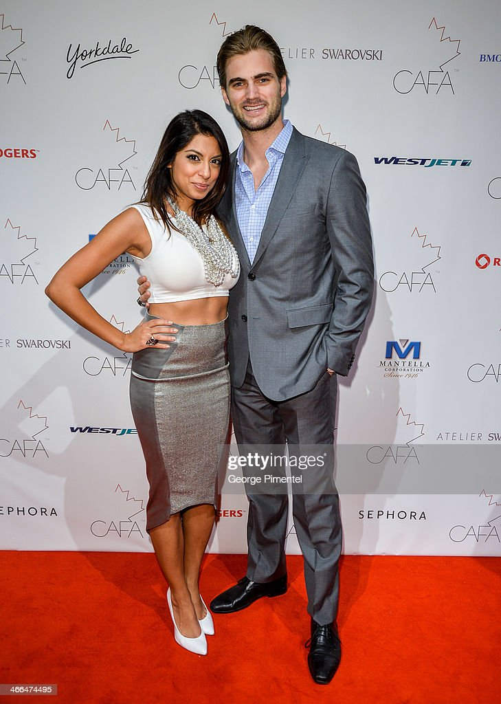 Aliya Jasmine and Mike Bradwell arrive at the 1st Annual Canadian Arts and Fashion Awards at the Fairmont Royal York Hotel on February 1, 2014 in Toronto, Canada.