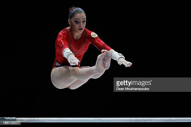 Aliya Mustafina of Russia competes in the Uneven Bars during the Womens AllRound Final on Day Five of the Artistic Gymnastics World Championships...