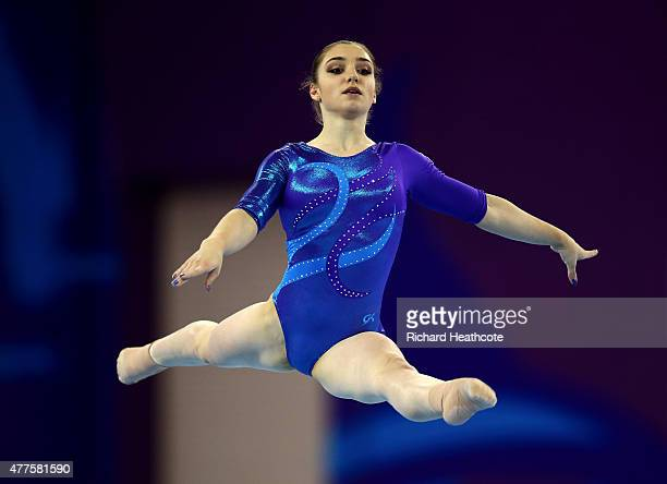 Aliya Mustafina of Russia competes on the Floor in the Women's Individual AllAround final on day six of the Baku 2015 European Games at National...