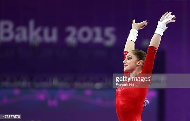 Aliya Mustafina of Russia completes during the Women's Uneven Bars final on day eight of the Baku 2015 European Games at the National Gymnastics...