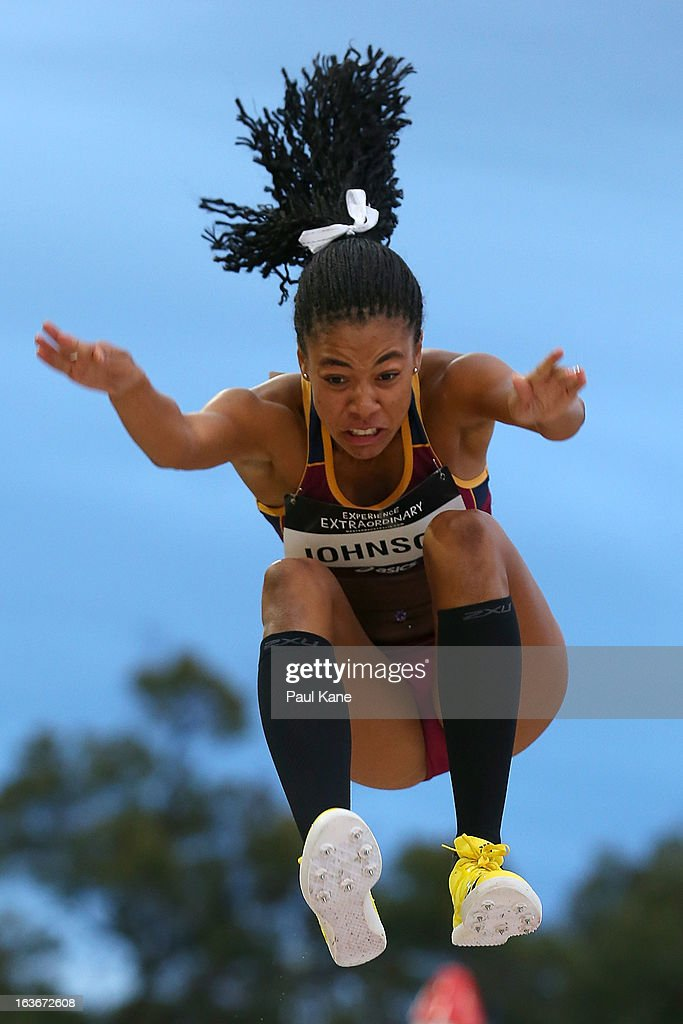 Aliyah Johnson of Queensland competes in the women's u18 long jump during day three of the Australian Junior Championships at the WA Athletics Stadium on March 14, 2013 in Perth, Australia.