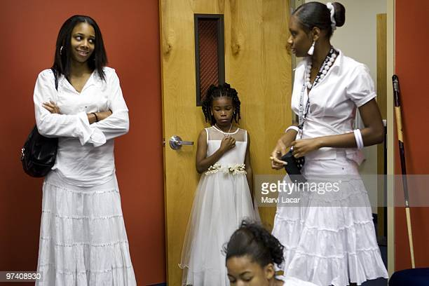 Aliyah Wilkins waits the recreation room for the Purity Ring Ceremony to begin at the Destiny World Church June 16 2007 in Austell Georgia Young...