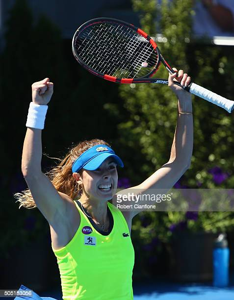 Alizé Cornet France celebrates after defeating Eugenie Bouchard of Canada in the singles finals match during 2016 Hobart International at the Domain...