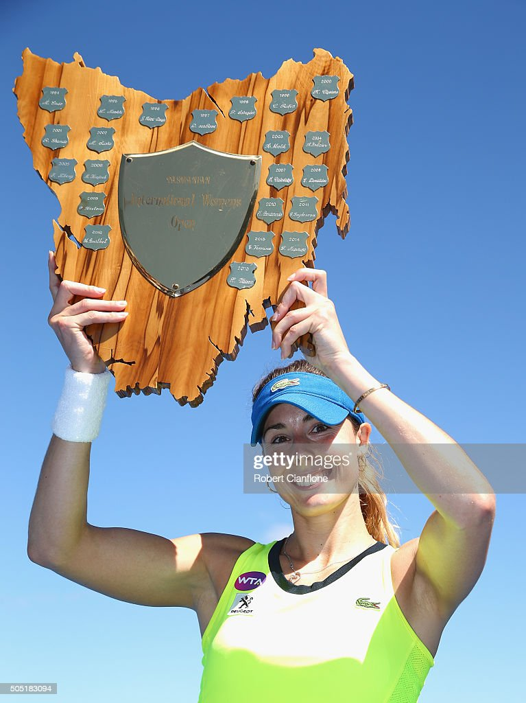 Alizé Cornet France poses with the winners trophy after defeating Eugenie Bouchard of Canada in the singles finals match during the 2016 Hobart International at the Domain Tennis Centre on January 16, 2016 in Hobart, Australia.