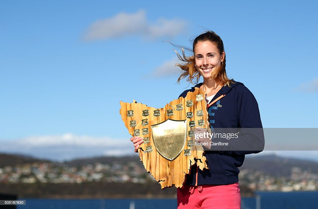 <a gi-track='captionPersonalityLinkClicked' href=/galleries/search?phrase=Aliz%C3%A9+Cornet&family=editorial&specificpeople=600294 ng-click='$event.stopPropagation()'>Alizé Cornet</a> of France poses with the winners trophy after defeating Eugenie Bouchard of Canada in the singles finals match during the 2016 Hobart International at the Domain Tennis Centre on January 16, 2016 in Hobart, Australia.