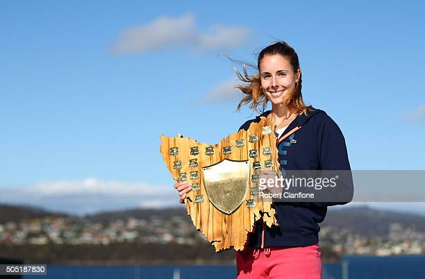 Alizé Cornet of France poses with the winners trophy after defeating Eugenie Bouchard of Canada in the singles finals match during the 2016 Hobart...