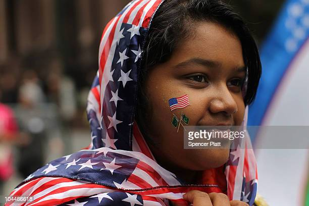 Aliza Fatima of Queens and a descendent of Pakistani parents participates in the American Muslim Day Parade on September 26 2010 in New York New York...