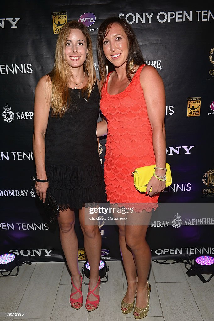 Alize Cornet and <a gi-track='captionPersonalityLinkClicked' href=/galleries/search?phrase=Jelena+Jankovic&family=editorial&specificpeople=217552 ng-click='$event.stopPropagation()'>Jelena Jankovic</a> attends the players party held at Cavalli Miami on March 18, 2014 in Miami Beach, Florida.