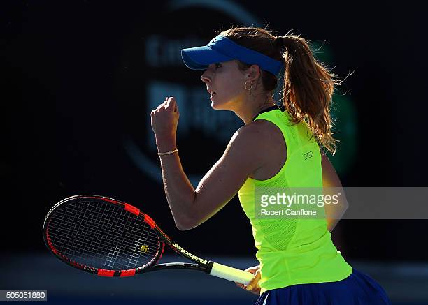 Alize Cornet of France celebrates a point in the semifinal singles match against Johanna Larsson of Sweden during day six of the 2016 Hobart...