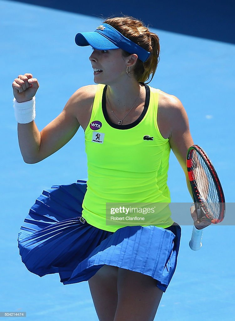 Alize Cornet of France celebrates after she defeated Denisa Allertova of Czech Republic in the women's single match during day one of 2016 Hobart International at the Domain Tennis Centre on January 10, 2016 in Hobart, Australia.