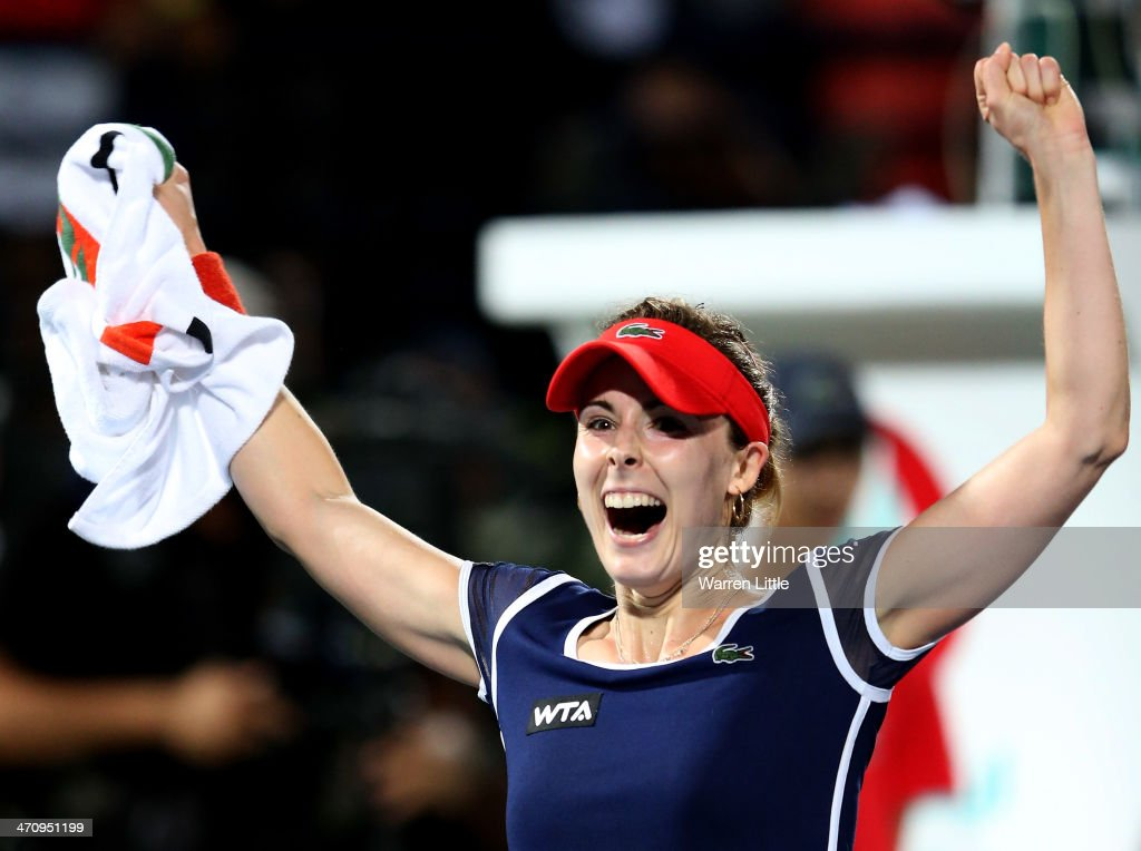 Alize Cornet of France celebrates beating Serena Williams of the USA during the semi finals of the WTA Dubai Duty Free Tennis Championship at the Dubai Tennis Stadium on February 21, 2014 in Dubai, United Arab Emirates.