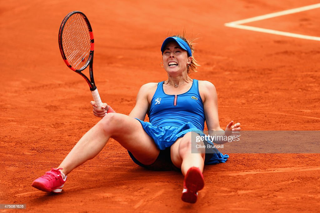 <a gi-track='captionPersonalityLinkClicked' href=/galleries/search?phrase=Alize+Cornet&family=editorial&specificpeople=600294 ng-click='$event.stopPropagation()'>Alize Cornet</a> of France celebrates match point in her Women's Singles match against Mirjana Lucic-Baroni of Croatia on day six of the 2015 French Open at Roland Garros on May 29, 2015 in Paris, France.
