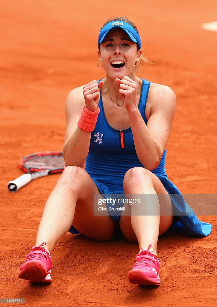 Alize Cornet of France celebrates match point in her Women's Singles match against Mirjana Lucic-Baroni of Croatia on day six of the 2015 French Open at Roland Garros on May 29, 2015 in Paris, France.