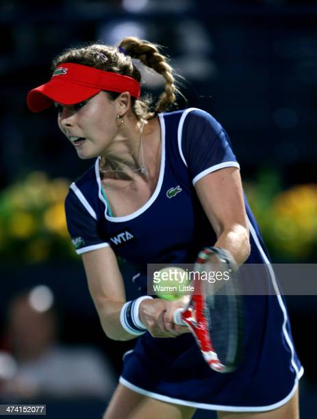 Alize Cornet of France in action against Venus Williams of the USA during the final of the WTA Dubai Dury Free Tennis Championship at the Dubai...