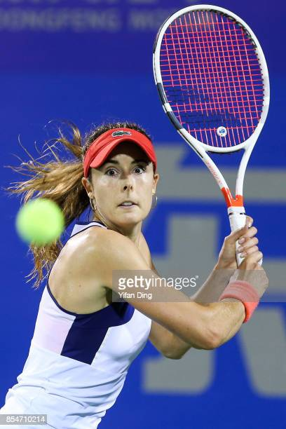 Alize Cornet of France plays a backhand during the third round Ladies Singles match against Varvara Lepchenko of the United States on Day 4 of 2017...