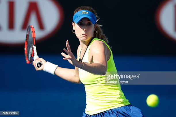 Alize Cornet of France plays a forehand in her second round match against Shuai Zhang of China during day four of the 2016 Australian Open at...
