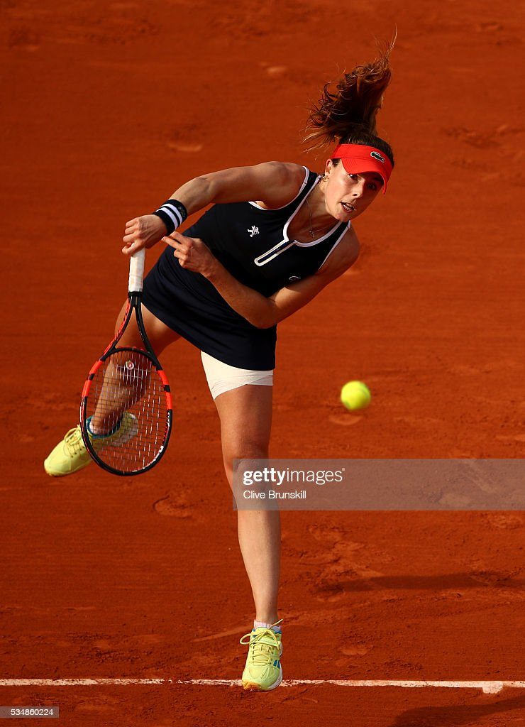 Alize Cornet of France serves dVenus Williams of the United States on day seven of the 2016 French Open at Roland Garros on May 28, 2016 in Paris, France.
