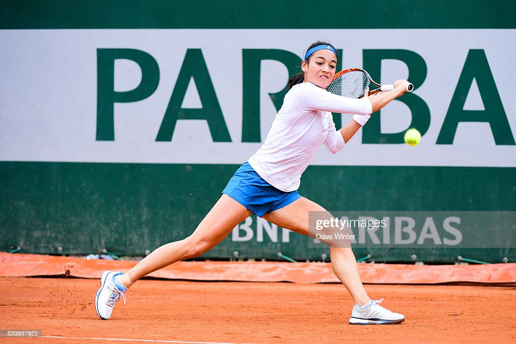 Alize Lim during the Women's Singles first round on day three of the French Open 2016 at Roland Garros on May 24, 2016 in Paris, France.
