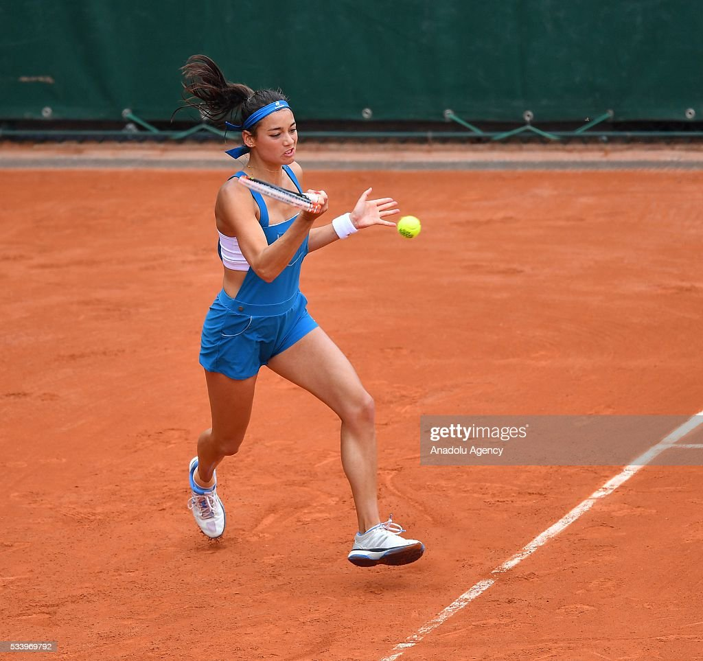 Alize Lim of France in action during women's single first round match against Camila Giorgi of Italy at the French Open tennis tournament at Roland Garros in Paris, France on May 24, 2016.