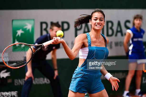 Alize Lim plays a practise match for Kids' Day during the French Open 2016 on May 21 2016 in Paris France