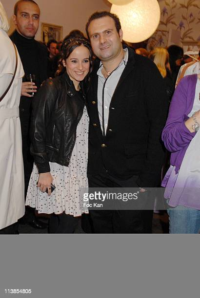 Alizee Jacotey and Bel Air Press Relation Jean Marc Fellous attend the The Bel Air Champs Elysees Shop Opening Cocktail on April 10 2008 in Paris...