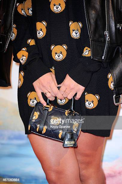Alizee bag and fashion detail attends the 'Tinkerbell and The Legend of the Neverbeast' Paris Premiere at Gaumont Champs Elysees on March 20 2015 in...